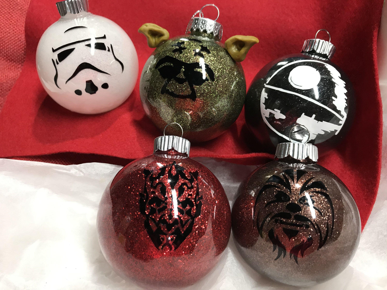 Handmade Glitter Star Wars Ornaments Personalized Etsy Star Wars Christmas Ornaments Star Wars Christmas Tree Christmas Ornaments