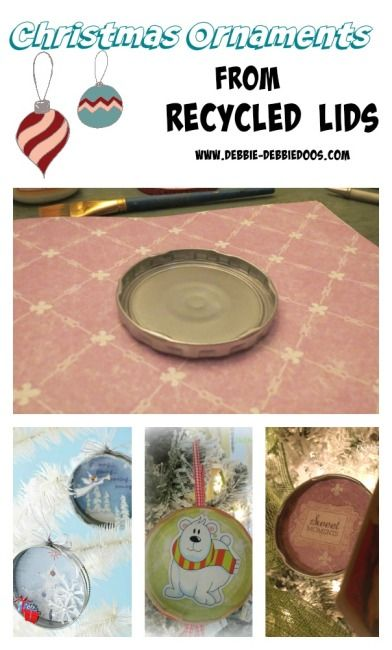 A-Christmas-recycled-ornament-craft-idea-Recycled jar lids for Christmas ornaments. #debbiedoos