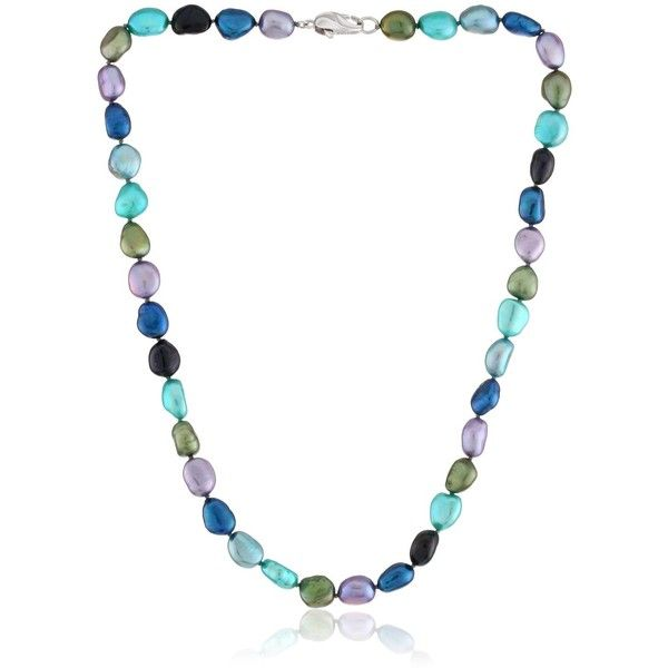 """Honora """"Peacock"""" Freshwater Cultured Pearl Necklace, 18"""" (125 CAD) ❤ liked on Polyvore featuring jewelry, necklaces, feather necklace, freshwater pearl necklace, honora jewelry, honora and fresh water pearl jewelry"""