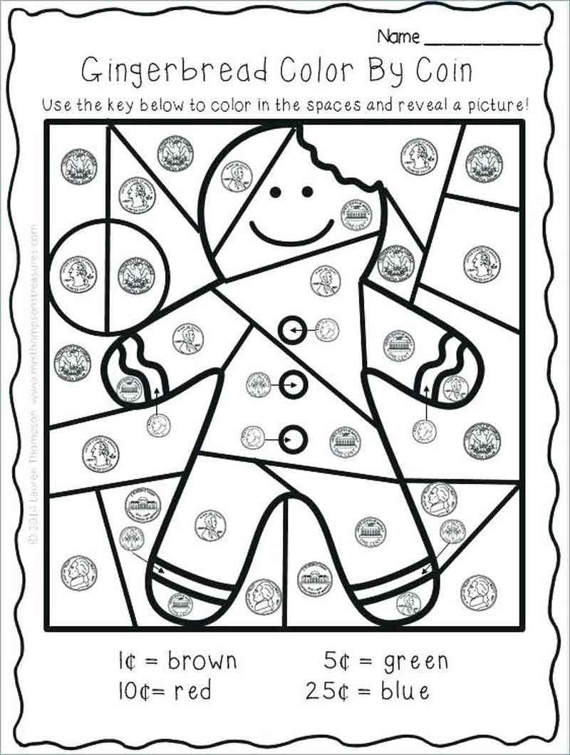 Kindergarten Worksheets Color By Coin. Christmas math