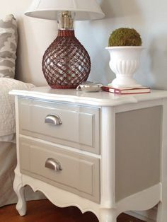 Two Tone Re-Painted Nightstand in DIY Chalk Paint. Click for tips and tricks and to see the 'before' #nightstand #refinishedfurniture #paintinedfurniture www.twoityourself.com