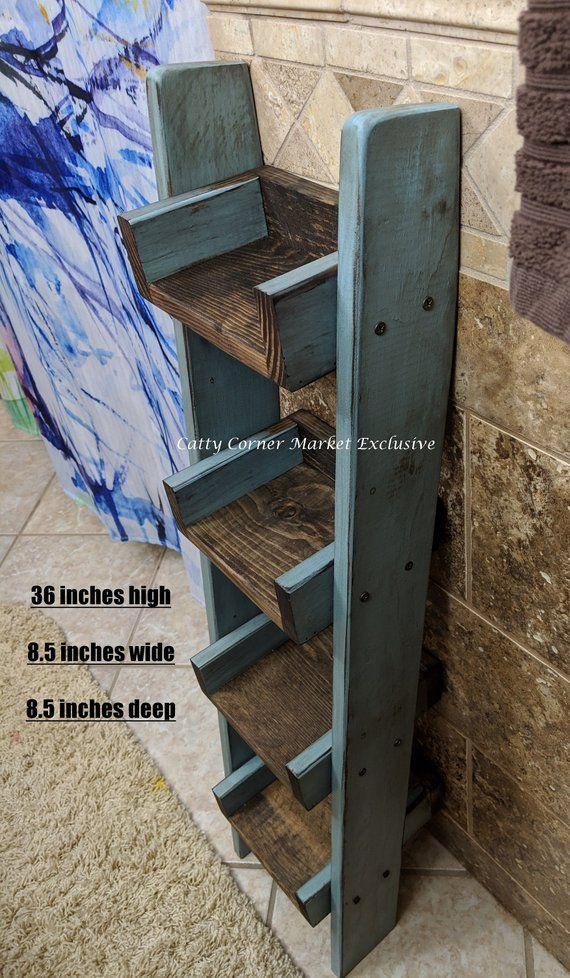 Short Narrow Leaning Ladder Shelf, Bathroom decor, Small ...