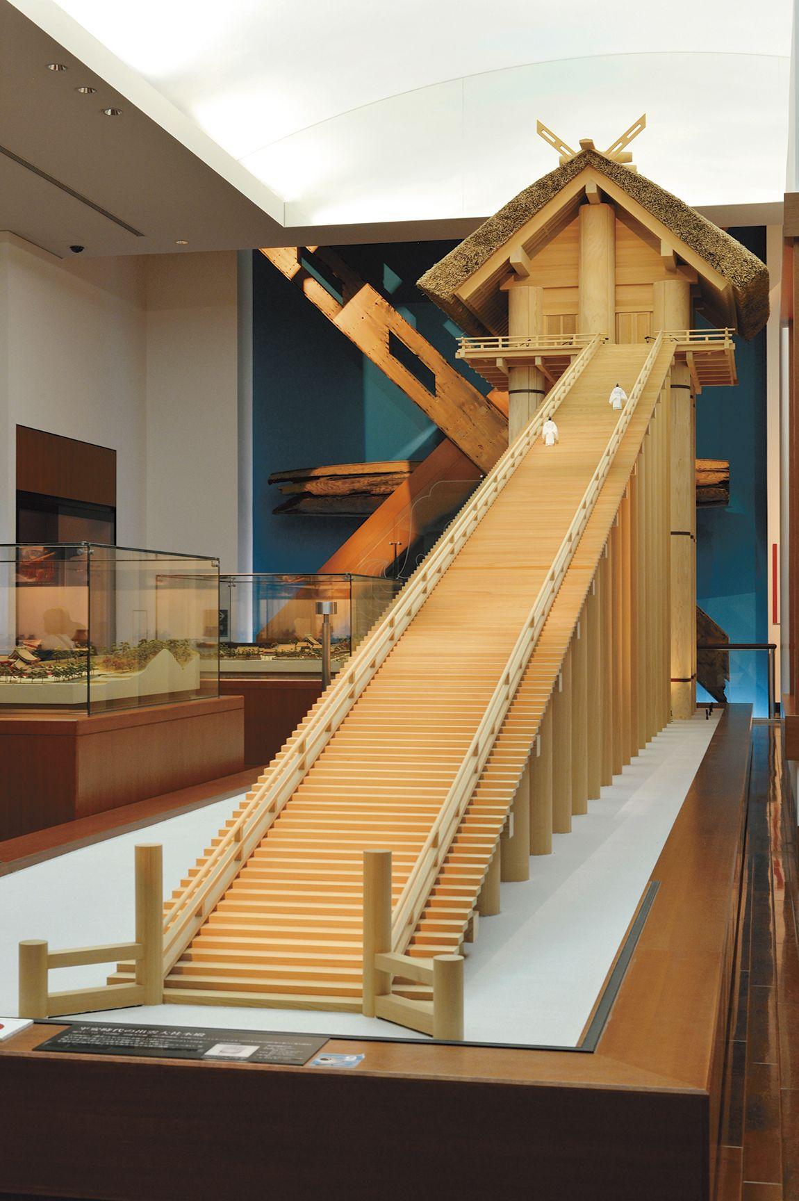 古代出雲歴史博物館にある 平安時代の出雲大社本殿模型 都市デザイン 大社 神殿