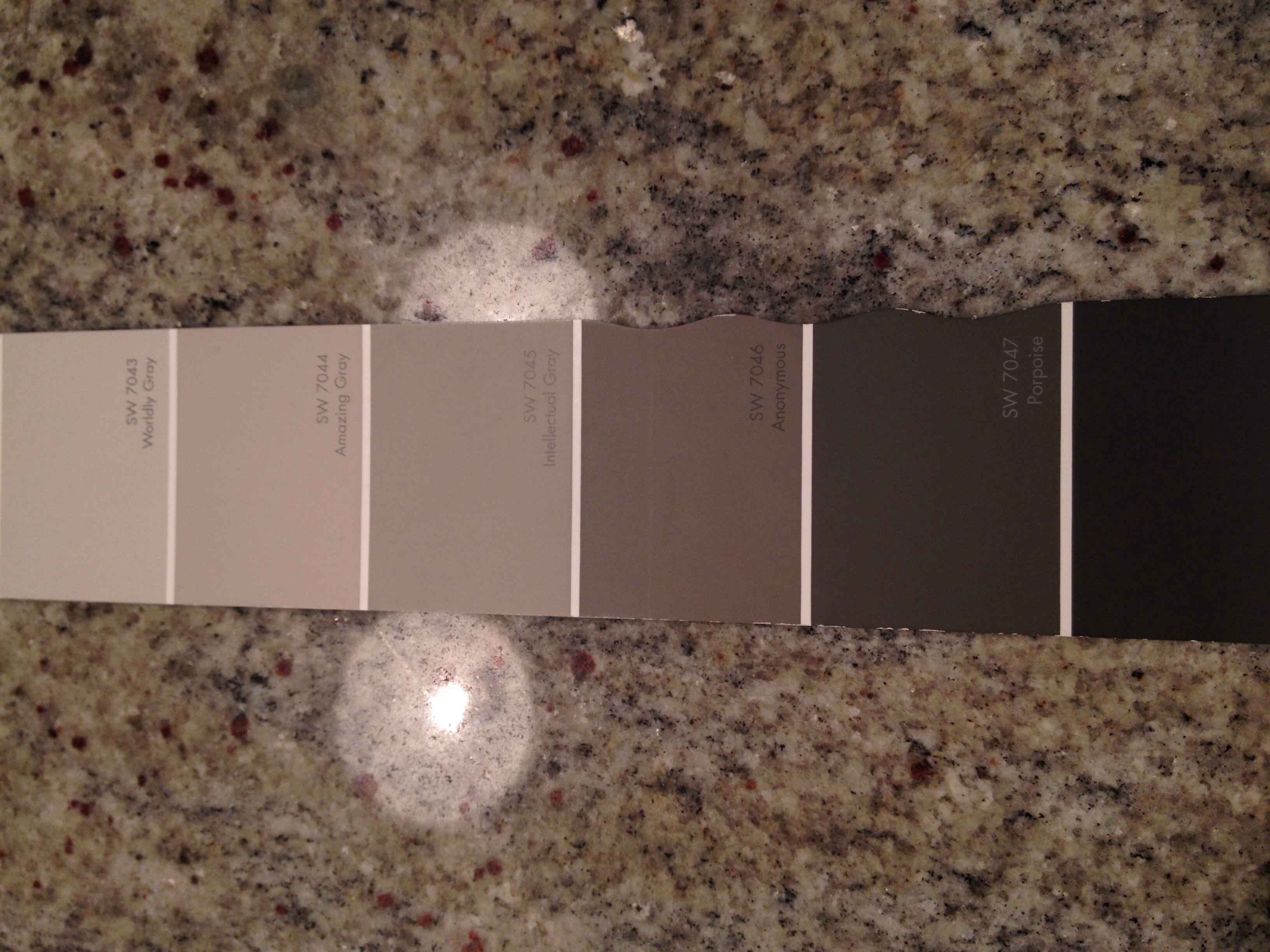 Moms Paint Colors. Walls Worldly Gray, Kitchen Cabinets Amazing Gray,  Bathroom