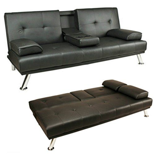 Sofa Bed Black Faux Leather Click Clack Double Settee 2 To 3 Seater Modern Couch With