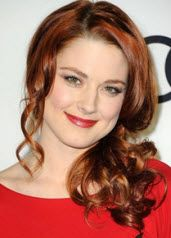 Alexandra Breckenridge - Long red loose wrapped side ponytail hairstyle with curly ends and a side part with pulled out piecey curly side hairs