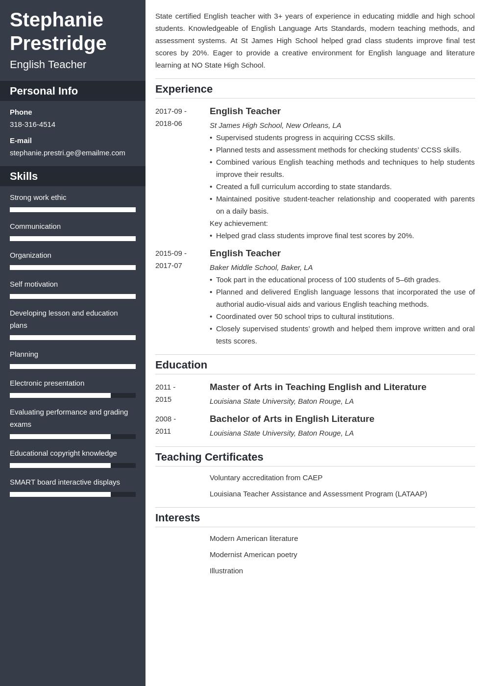 english teacher resume example template cascade in 2020