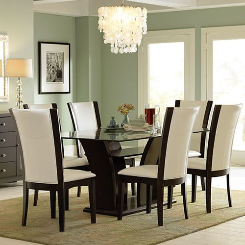 small elegant dining room tables | Daisy Collection | 7 Piece Rectangular Glass Top Dining ...
