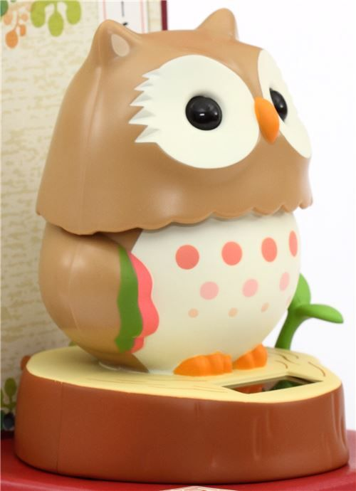 Brown Base Beige Owl Solar Powered Bobble Head Toy From Japan 3 Bobble Head Dancing Toys Bobble