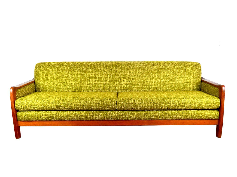 Danish Modern Green Sofa Couch Long Teak Couch Mid Century Modern
