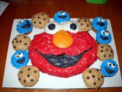 elmo cake and cookie monster cupcakes baby b day pinterest on birthday cake made from cookies
