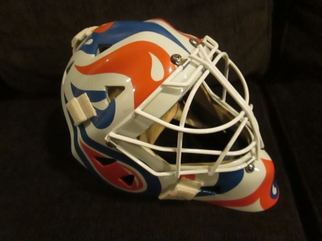 Eddy Custom Kevlar Goalie Mask With Oilers Paint Job Hockey