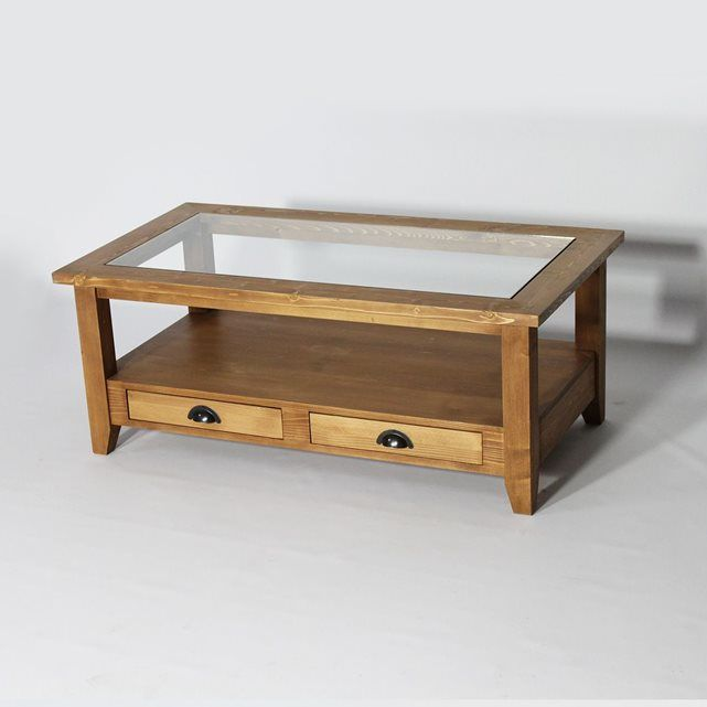 Table Basse Bois Massif Avec Plateau En Verre N532 Made In Meubles Table Decor Living Room Tea Table Design Coffee Table