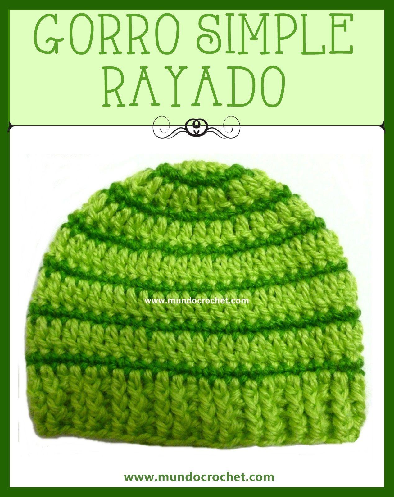 Gorro a Crochet rayado para bebé con patrón | Ganchillo | Pinterest ...