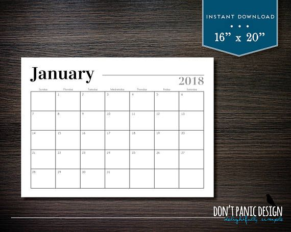 75bd47ea8ac Large Black 2018 Printable 12 Month Calendar - 16
