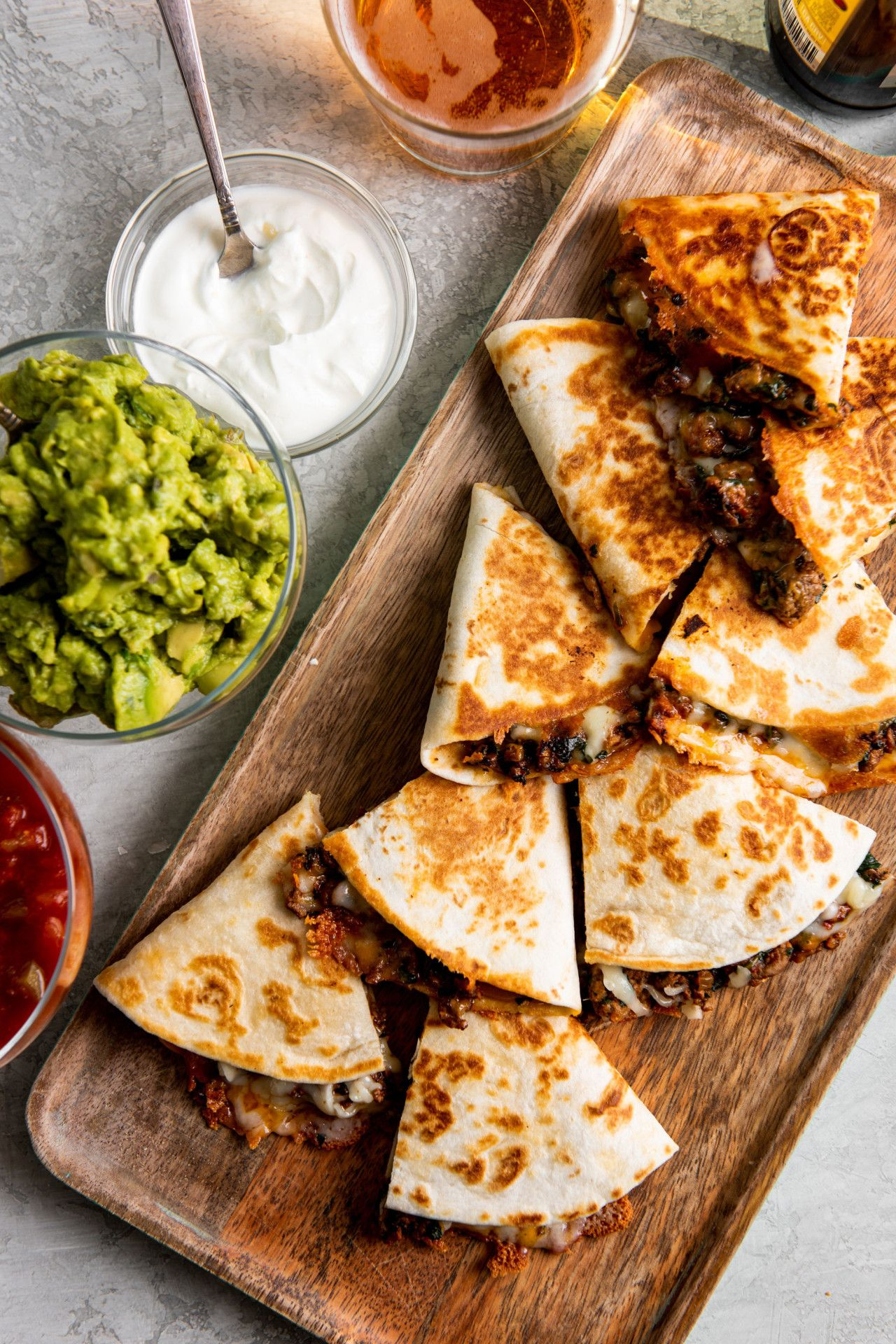 Cheesy Ground Beef Quesadillas Delicious Cheesy Quesadillas With Hidden Vegetables A Leafy Green Can Help V Beef Quesadillas Recipes Ground Beef Quesadillas
