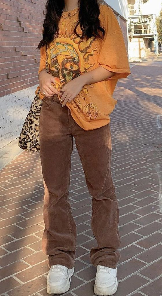 Fall Monochrome Look- brown corduroy pants, leopar