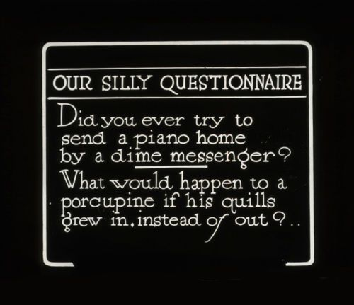 Lantern Slide Silent Movie Humorous Piano Dime Messenger Porcupine Quip 1920s | eBay