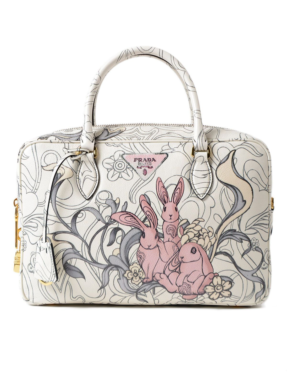 8250b6fdfdd8 PRADA GLACE CALF RABBIT HANDBAG.  prada  bags  leather  lace ...