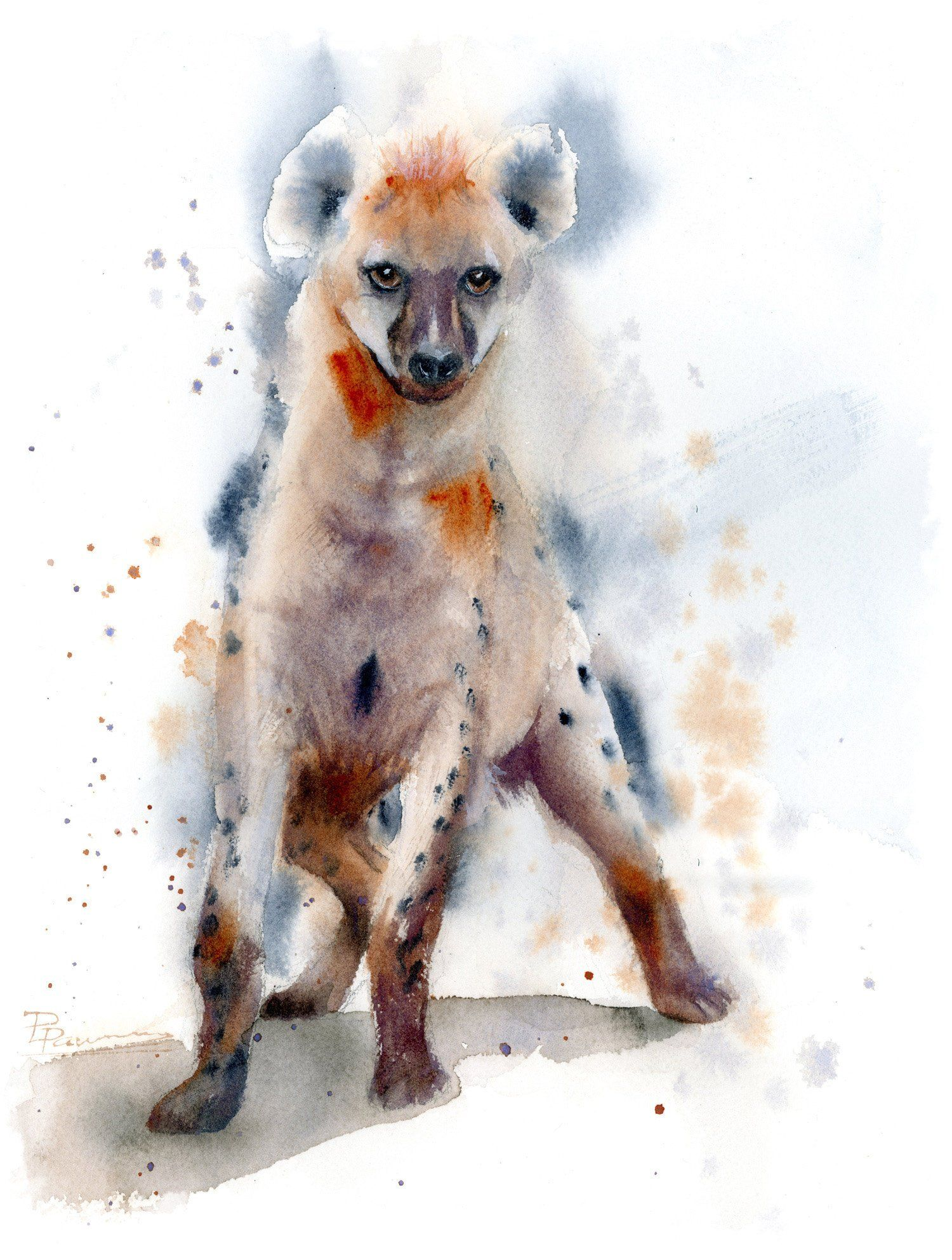 Hyena Painting Original Watercolor Wall Art Decor Wild Animal
