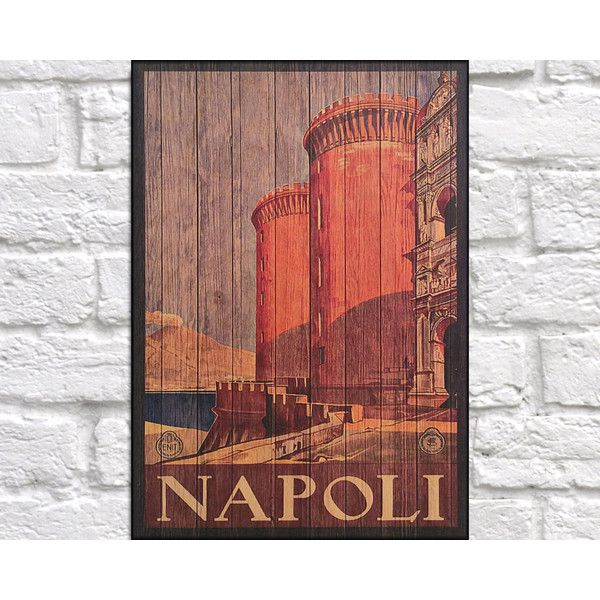 Napoli Travel Art Print Wood Wall Art Decor Retro Travel Poster Gift... ($17) ❤ liked on Polyvore featuring home, home decor, wall art, grey, home & living, home décor, wall décor, wall hangings, grey wall art and retro wall art