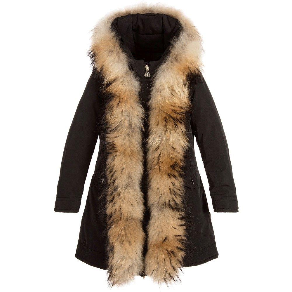 Moncler Girls Black Coat with Fur | JACKETS COATS OUTERWEAR ...