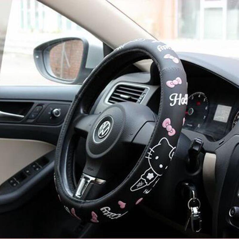 hello kitty auto accessoires cartoon stuurwiel cover voor auto interieur latex leuke stuurwiel covers roze