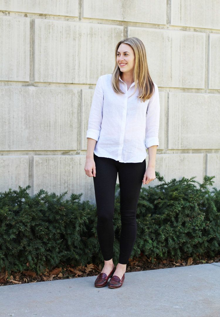 b009f683e66 White linen shirt outfit with black ponte pants and red loafers — Cotton  Cashmere Cat Hair