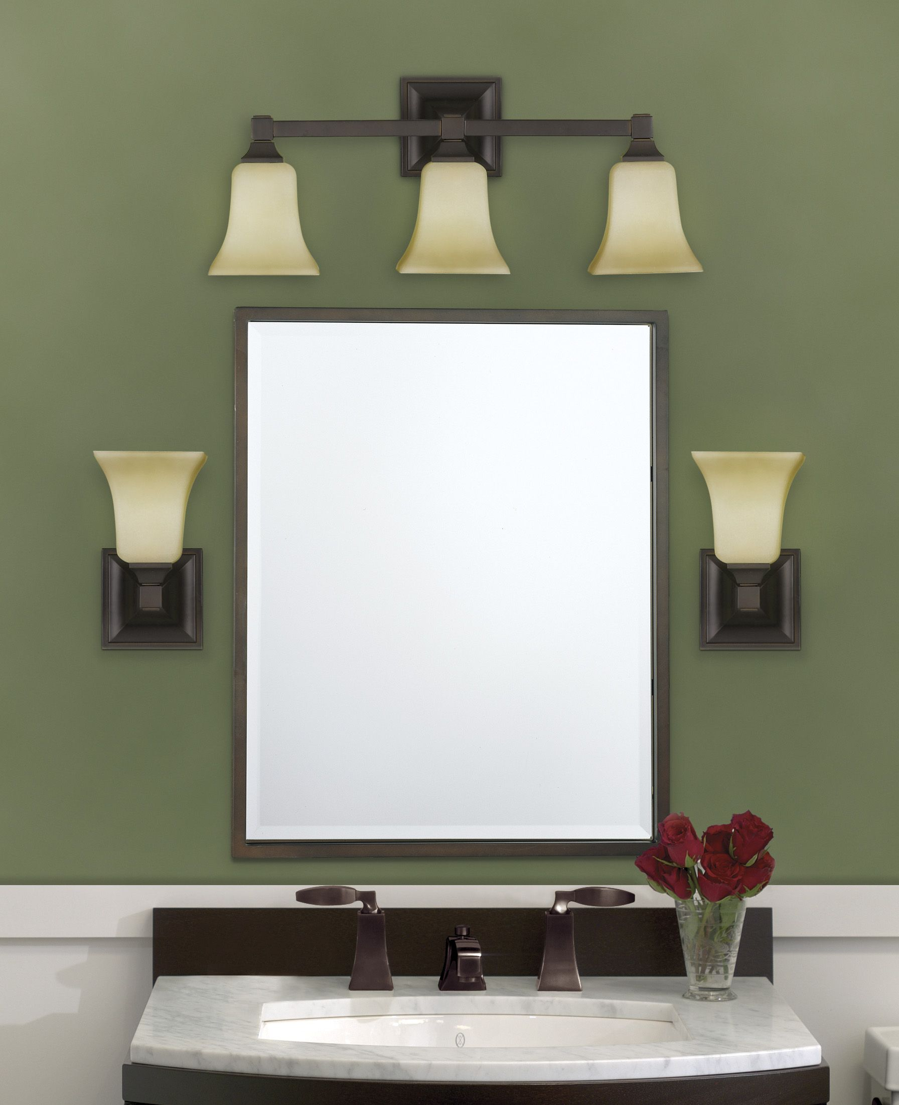 ideal bathroom vanity lighting design ideas. American Foursquare Vanity Light And Wall Sconces From Murray Feiss Lighting Ideal Bathroom Design Ideas