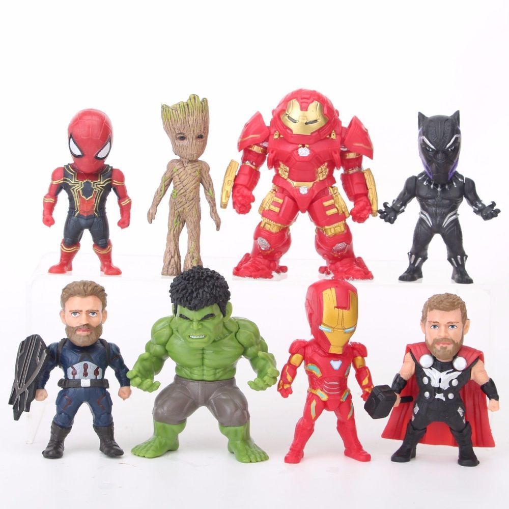 8 Mini Superhero Action figures  Avenger men IRON THAONS HULK BLACK PANTHER