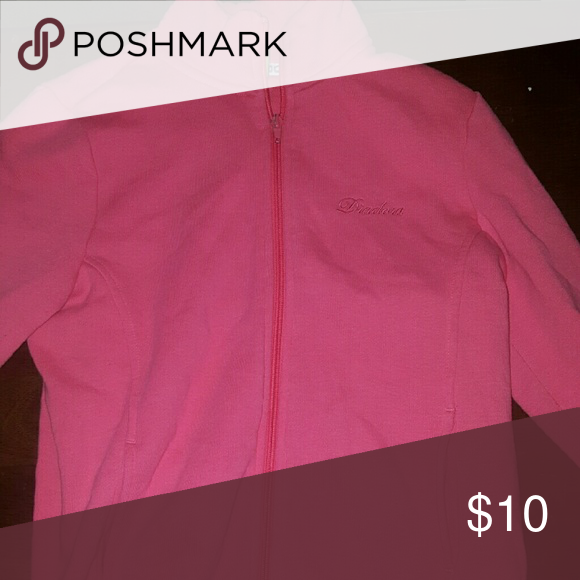 Pink full zip sweater Pretty good condition does have a little piling on it but still very cute Tops Sweatshirts & Hoodies