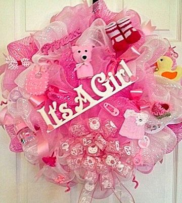 Baby Girl Deco Mesh Wreaths It S A Girl Welcome Home Wreath Baby