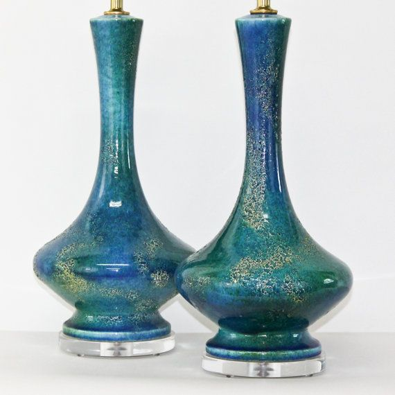 Pair Royal Haeger Pottery Lamps In Blue And Aqua Etsy Pottery Lamp Pottery Blue Table Lamp