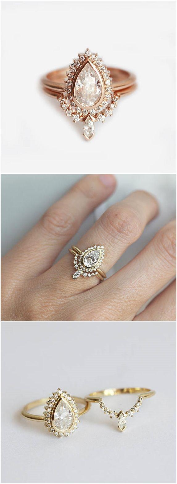 Pear shape diamond ring with diamond crown band halo pear diamond