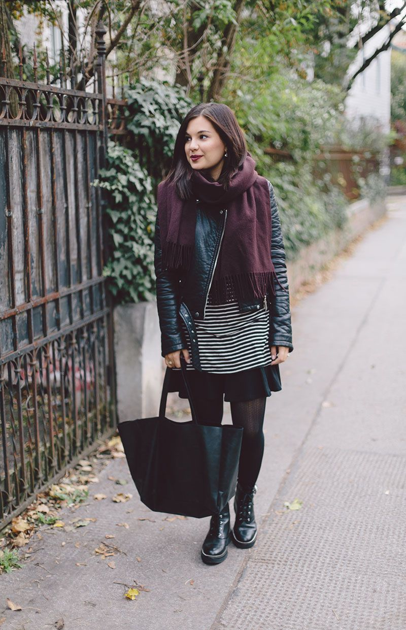 Fall outfit: burgundy scarf, black leather jacket, black-white striped shirt, black skirt, black boots & bag