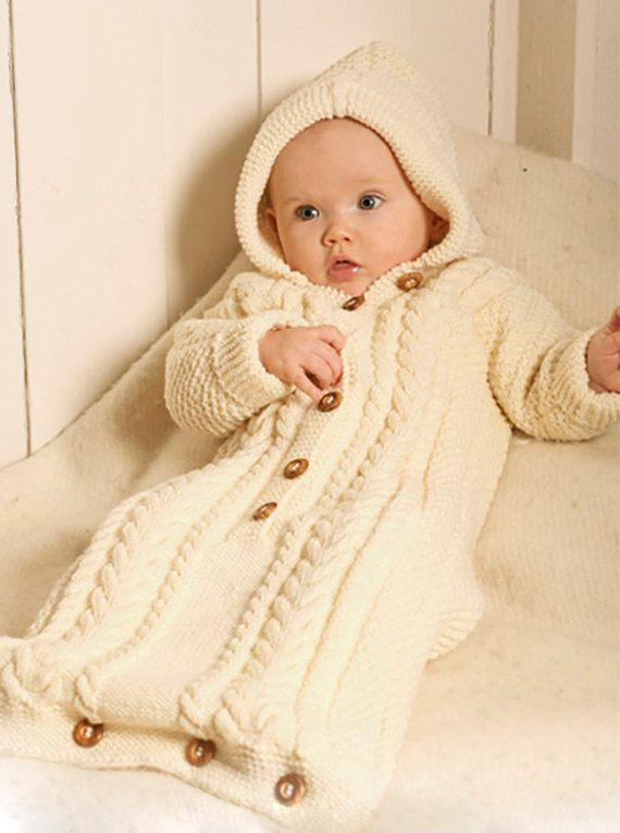 Pdf Knitting Pattern For A Babies Aran Style Sleeping Bag Or Cocoon