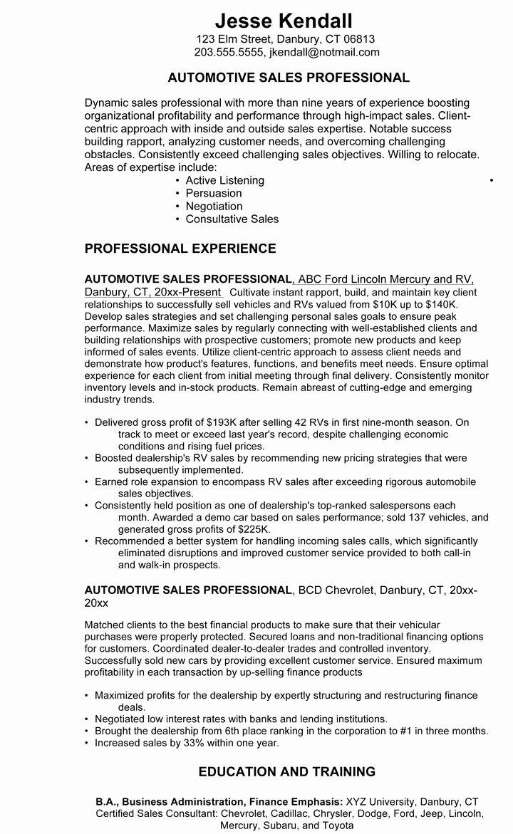 Beautiful car salesman resume example 3 in 2020 sales