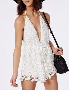 White Spaghetti Strap Backless Lace Jumpsuit - Sheinside.com