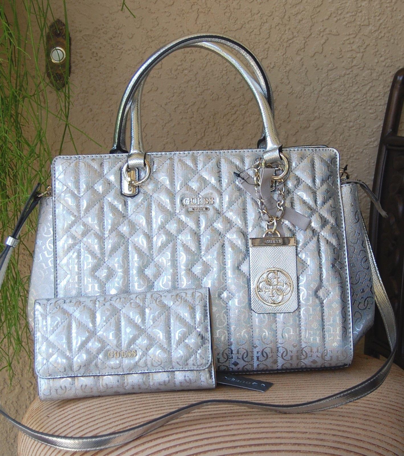 3cc57de75ecd Nwt Beautiful Guess Malena Satchel Handbag Wallet Set Color Silver
