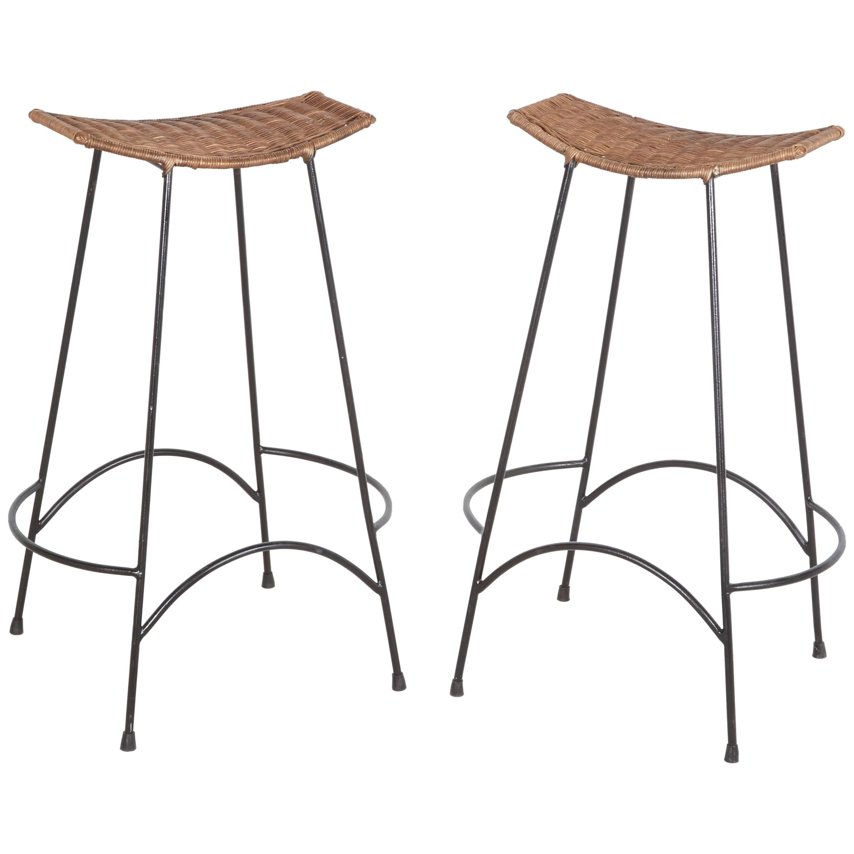 Pair Of Bar Stools In The Style Of Arthur Umanoff For Sale At 1stdibs Iron Bar Stools Modern Antique Furniture