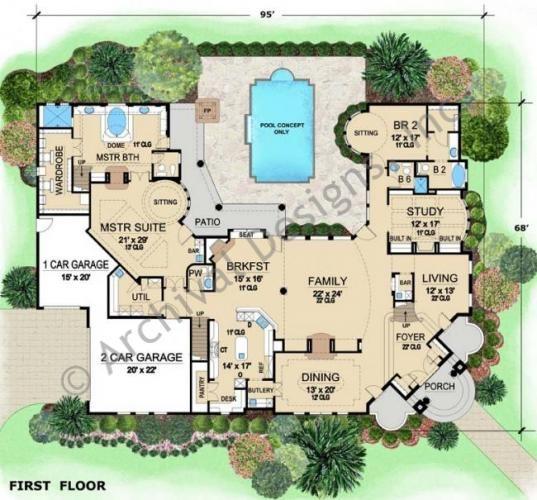Luxurious Mediterranean Mansion House Plan Villa Visola First Floor House Blueprints Sims House House Floor Plans