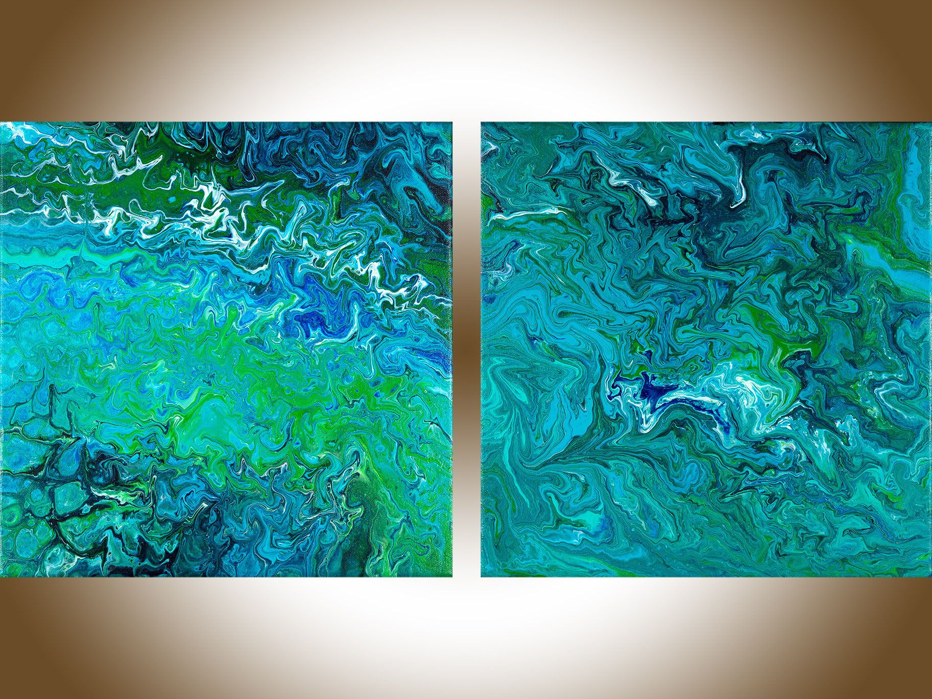 office canvas art. Set Of Painting Fluid Art Green Blue Abstract Contemporary Original Wall Canvas Office L