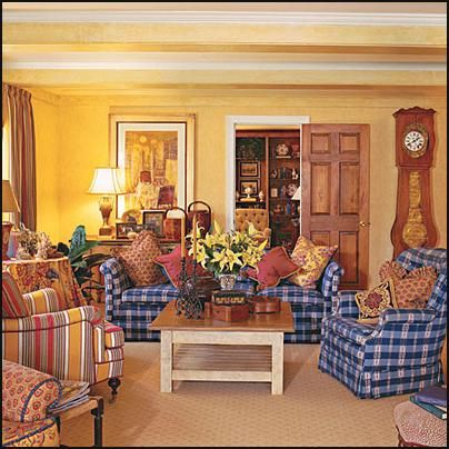 Red white and blue with a good dose of yellow french country interior decorating