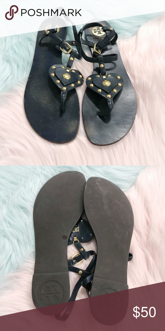 344f1af39a80 Navy Tory Burch Heart Stud Sandals Vintage- so cute! These are from around  2010