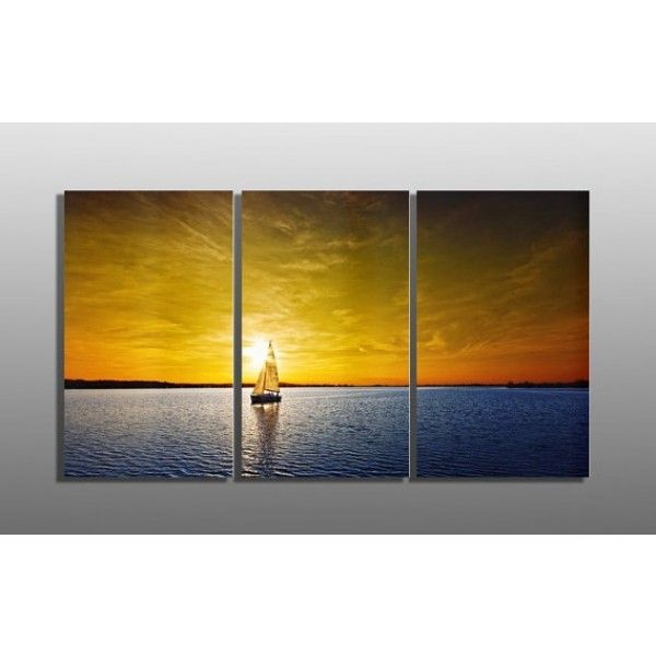 Metal Abstract Wall Art Decor - Triptych Sunset Sailboat | metal ...