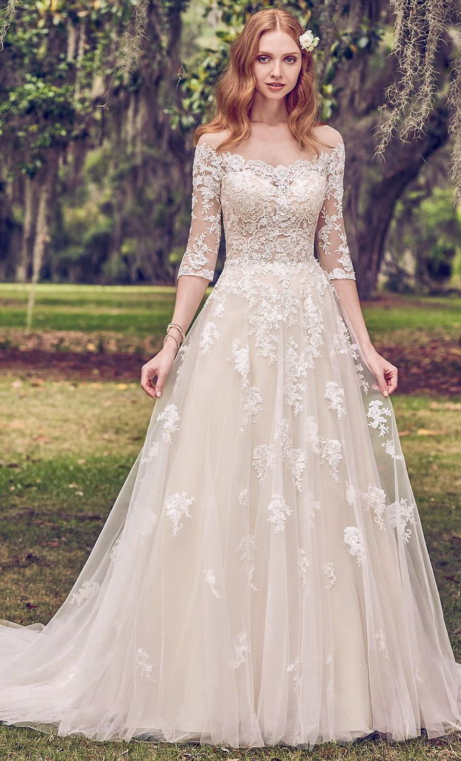 A Gold Dress For A Glamorous Wedding Yes Please Fall In Love With These Stunning Gowns From Maggie Sottero Designs Wedding Inspirasi Wedding Dresses A Line Wedding Dress Perfect Wedding Dress [ 1485 x 900 Pixel ]