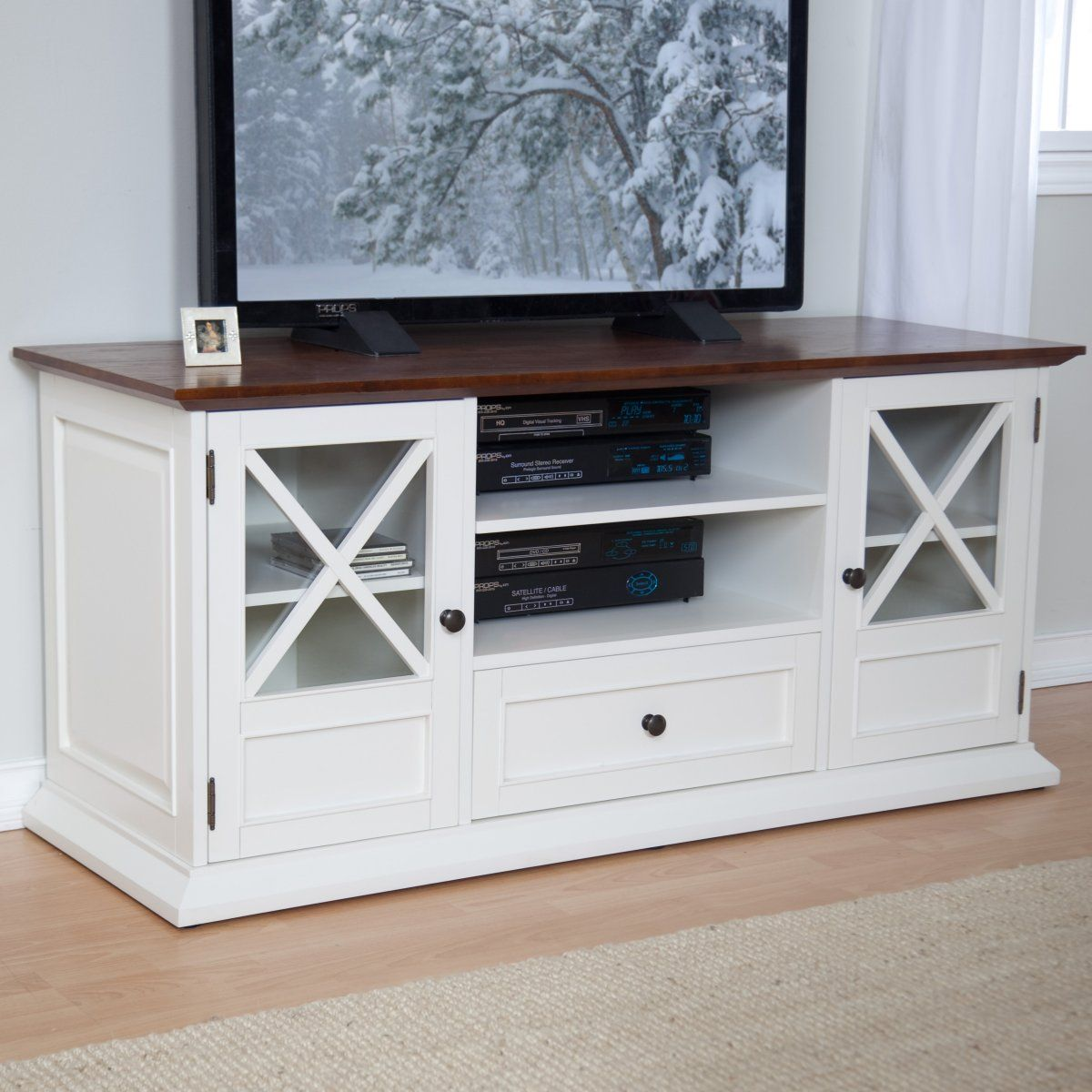 The hampton 55 inch tv stand white oak traditional tv stands at hayneedle