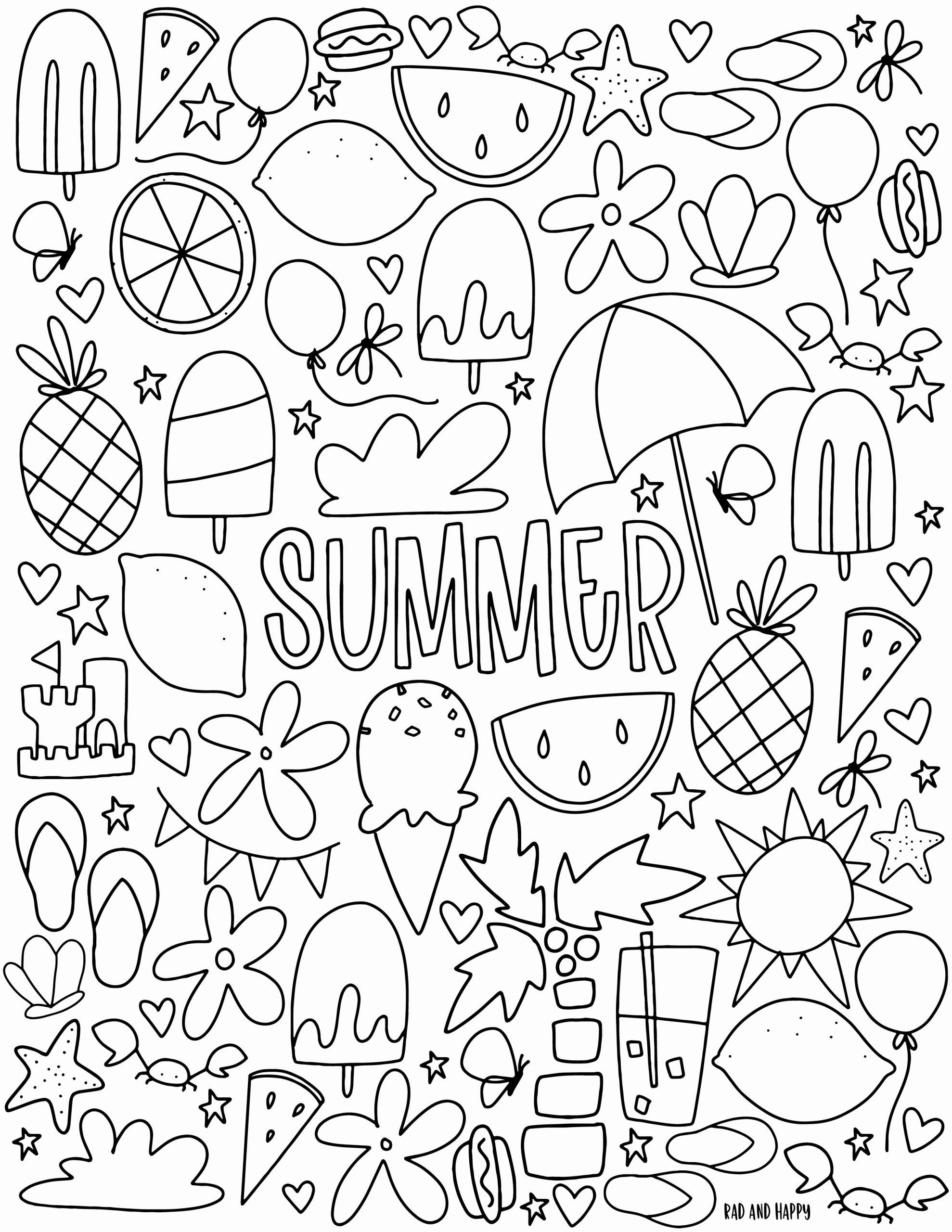 Happy Summer Coloring Pages Collection