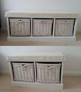 White Storage Bench With 2 3 Wicker Baskets Cushion Seat Neutral Hallway