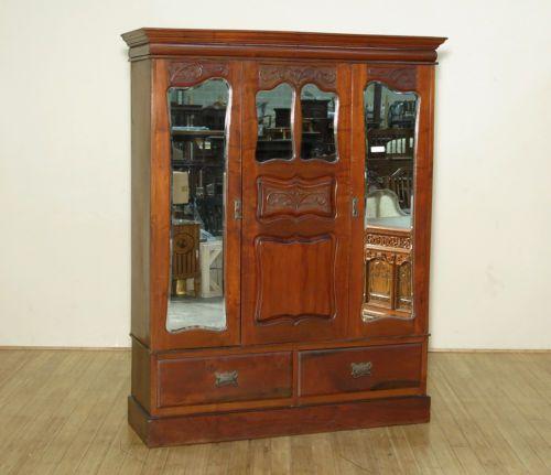 Antique English Victorian Walnut 2 Door Armoire Wardrobe Closet W Mirrors C1890 In Antiques